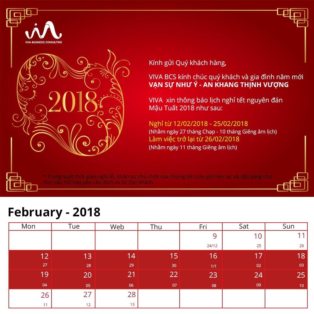 Thông báo lịch nghỉ tết 2018 VIVA BCS