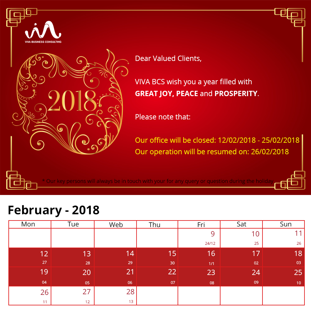 Announcement Lunar New Year Holiday 2018
