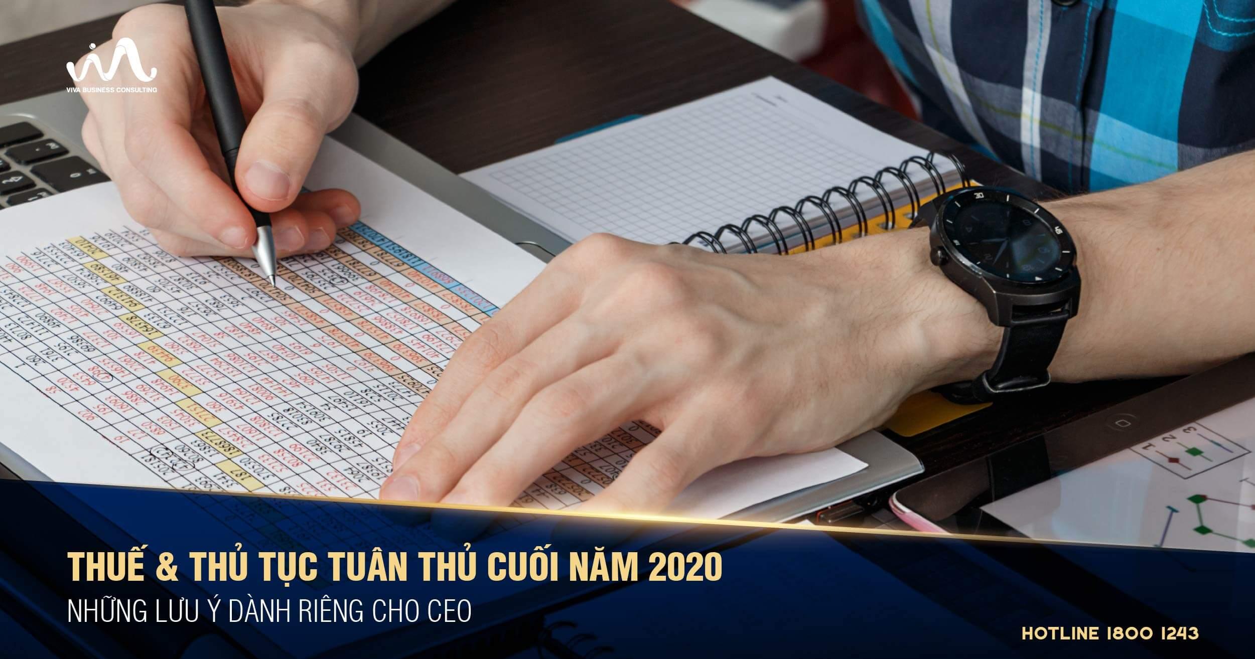 Các thủ tục tuân thủ thuế cuối năm 2020