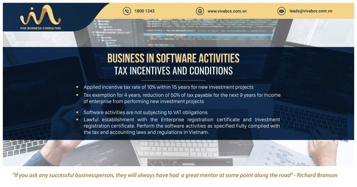 Conditions for Tax Incentives on Software industry activities