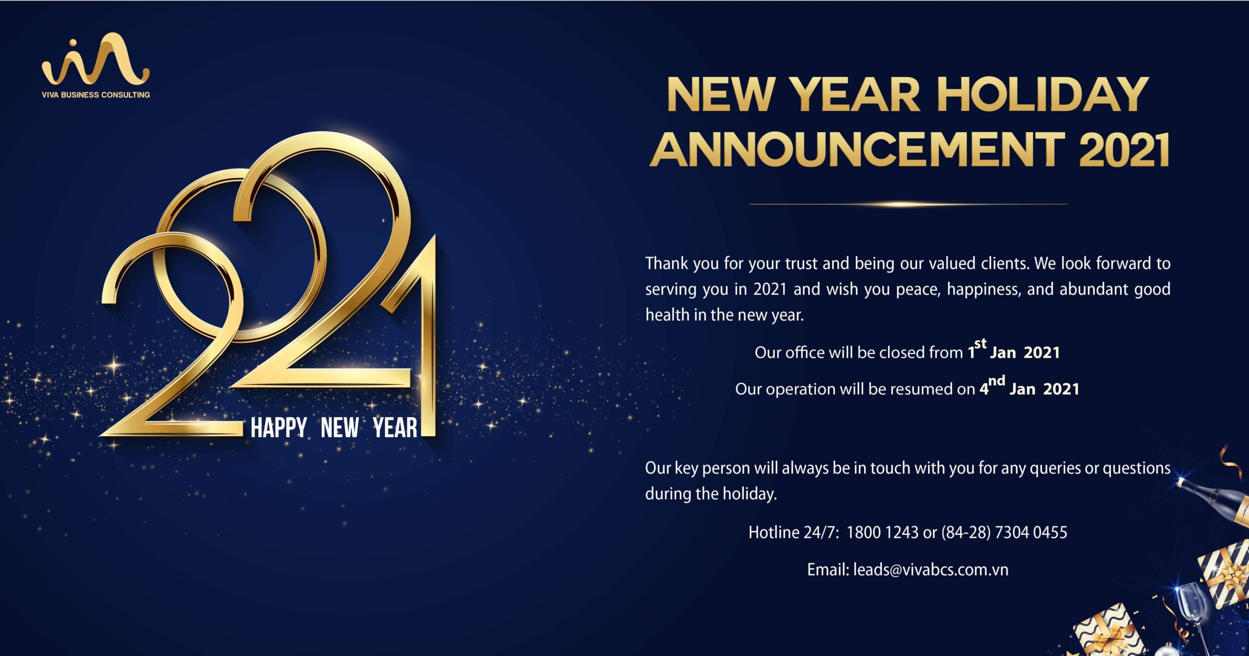 NEW YEAR HOLIDAY ANNOUNCEMENT 2021