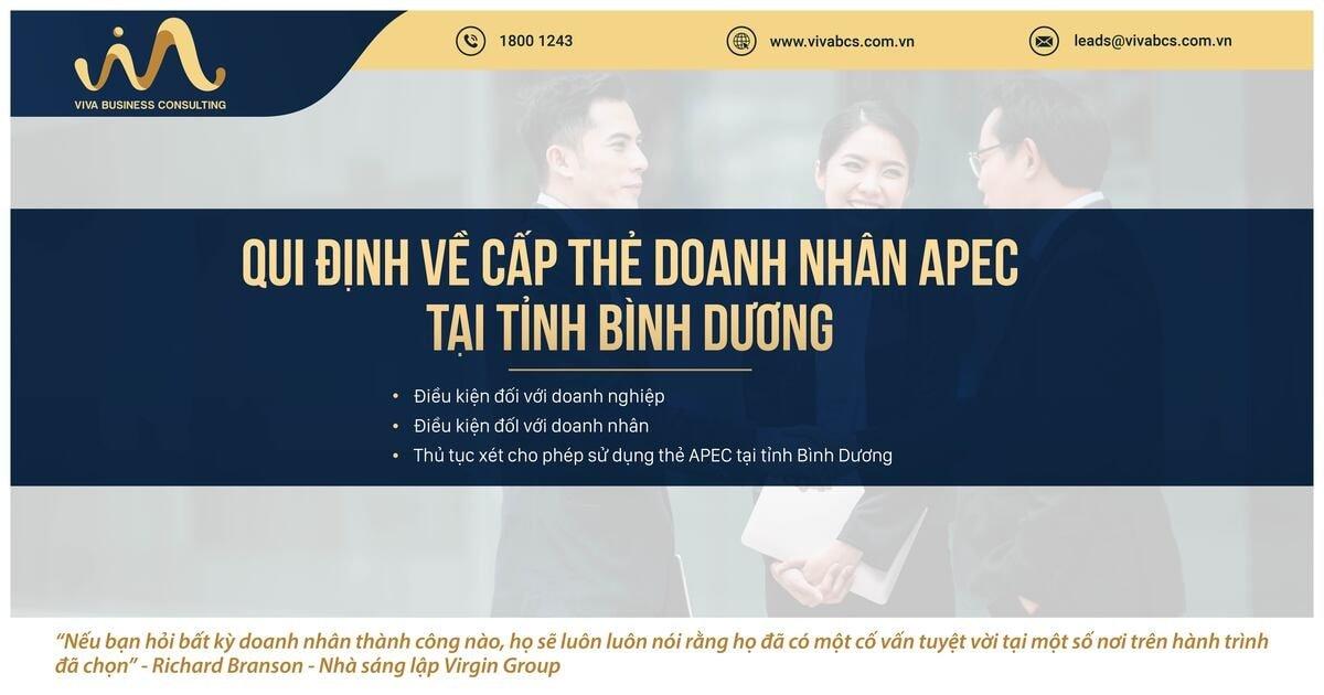 Qui định về cấp Thẻ doanh nhân APEC tại tỉnh Bình Dương