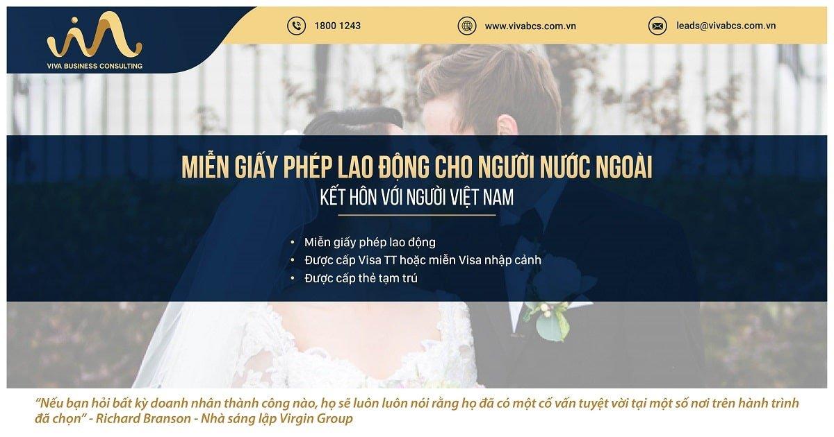 Miễn giấy phép la o động cho người nước ngoài kết hôn với người Việt Nam