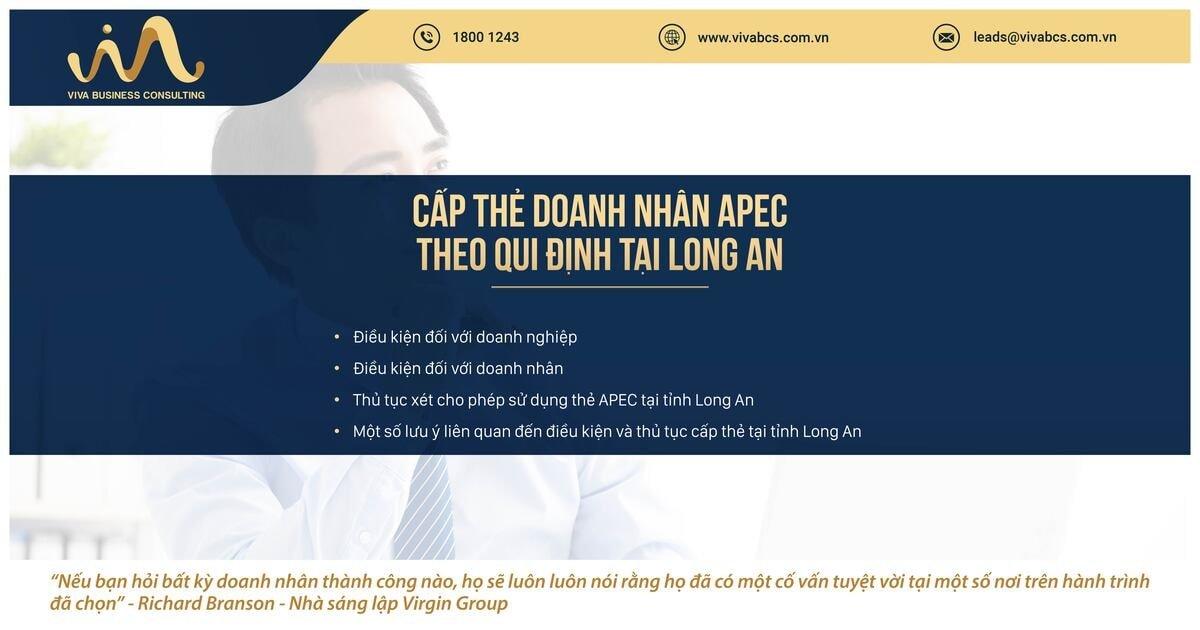 Qui định về cấp thẻ doanh nhân APC tại tỉnh Long An