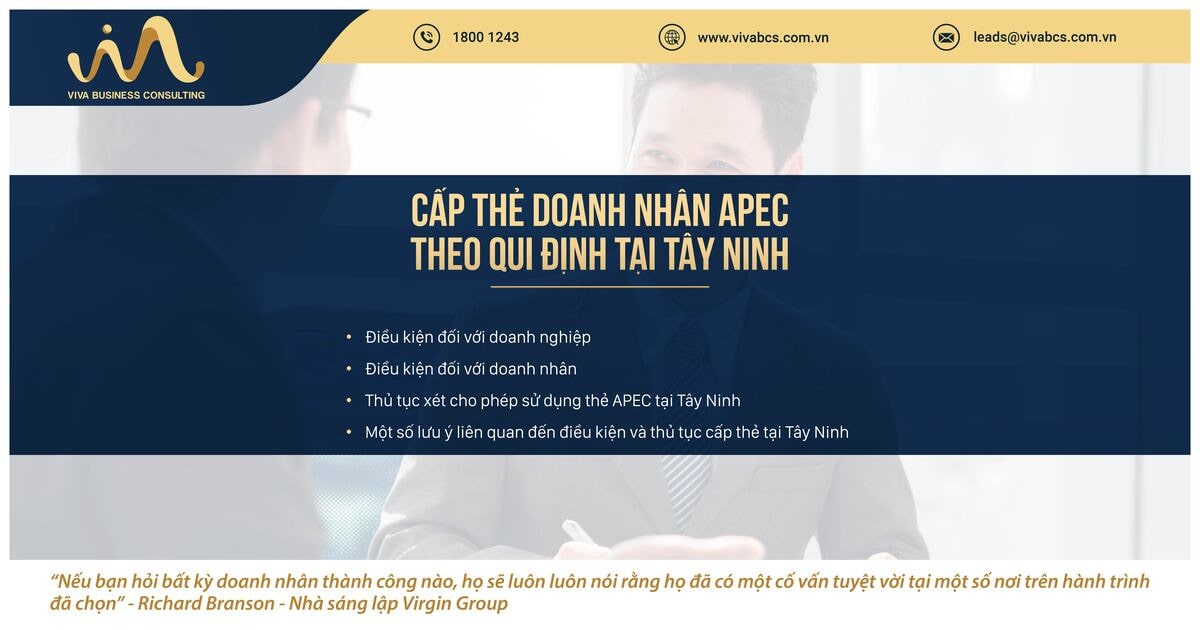 Qui định về cấp thẻ doanh nhân APC tại tỉnh Tây Ninh
