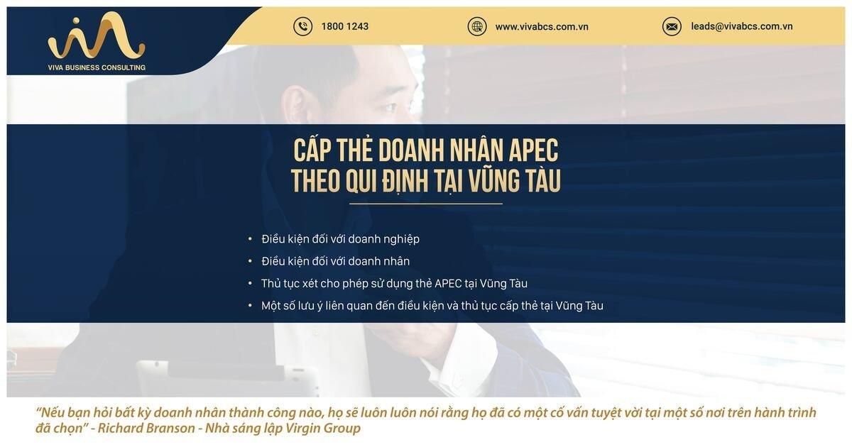 Qui định về cấp thẻ doanh nhân APC tại tỉnh Bà Rịa - Vũng Tàu