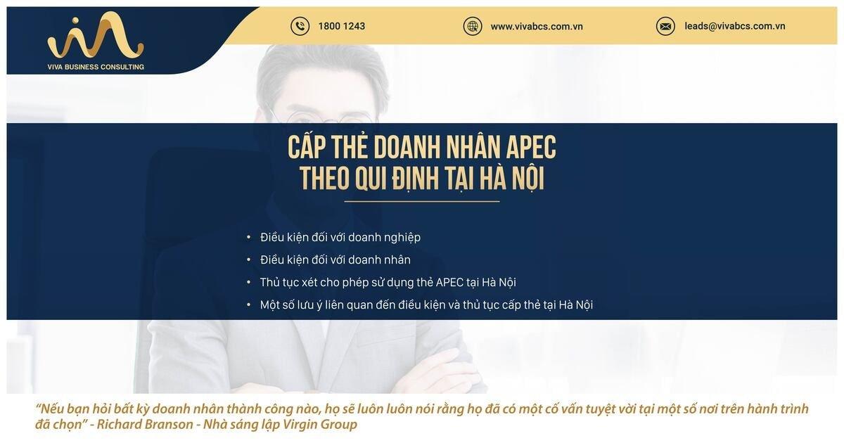 Qui định về cấp thẻ doanh nhân APC tại tỉnh Hà Nội