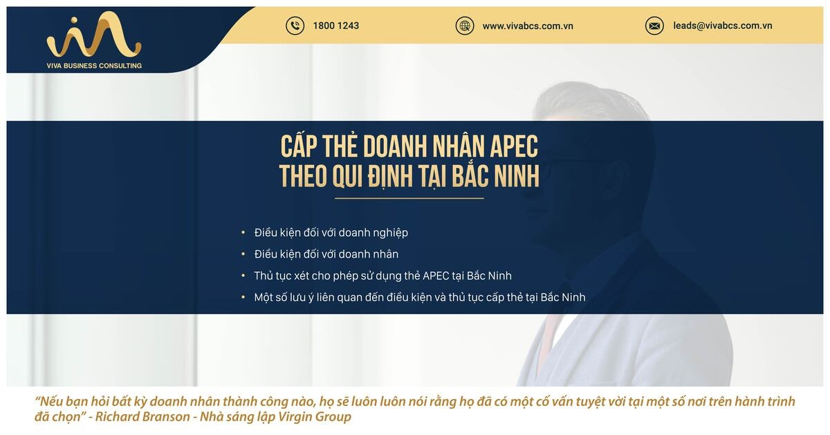 Qui định về cấp thẻ doanh nhân APC tại tỉnh Bắc Ninh