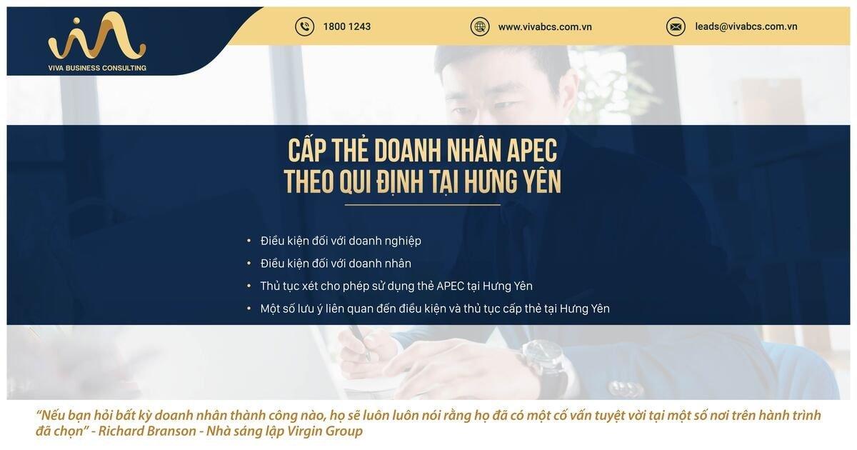 Qui định về cấp thẻ doanh nhân APC tại tỉnh Hưng Yên